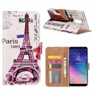 Parijs print lederen Bookcase hoesje voor de Samsung Galaxy A6 Plus 2018 - Wit