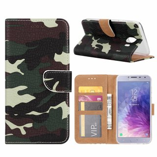 Leger Camouflage print lederen Bookcase hoesje voor de Samsung Galaxy J4 2018