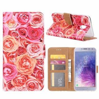 Rozen print lederen Bookcase hoesje voor de Samsung Galaxy J4 2018 - Roze