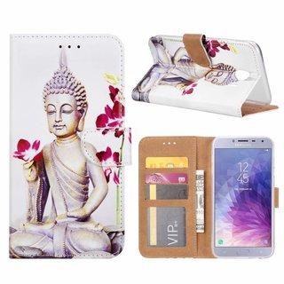Buddha print lederen Bookcase hoesje voor de Samsung Galaxy J4 2018 - Wit