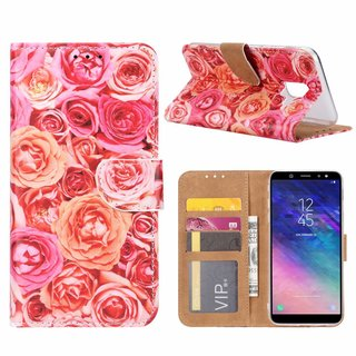 Rozen print lederen Bookcase hoesje voor de Samsung Galaxy A6 2018 - Roze