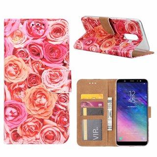 Rozen print lederen Bookcase hoesje voor de Samsung Galaxy A6 Plus 2018 - Roze