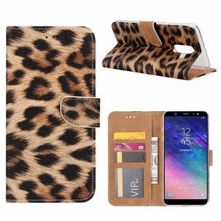 Panter print lederen Bookcase hoesje voor de Samsung Galaxy A6 Plus 2018