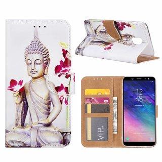 Buddha print lederen Bookcase hoesje voor de Samsung Galaxy A6 2018 - Wit