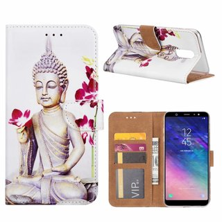 Buddha print lederen Bookcase hoesje voor de Samsung Galaxy A6 Plus 2018 - Wit