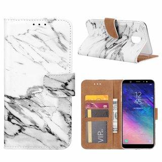 Marmer print lederen Bookcase hoesje voor de Samsung Galaxy A6 2018 - Wit