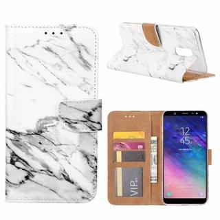 Marmer print lederen Bookcase hoesje voor de Samsung Galaxy A6 Plus 2018 - Wit