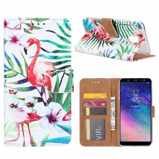 Flamingo print lederen Bookcase hoesje voor de Samsung Galaxy A6 2018 - Wit