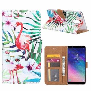 Flamingo print lederen Bookcase hoesje voor de Samsung Galaxy A6 Plus 2018 - Wit