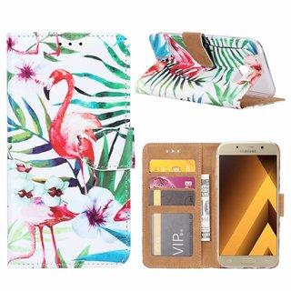 Flamingo print lederen Bookcase hoesje voor de Samsung Galaxy A5 2017 - Wit