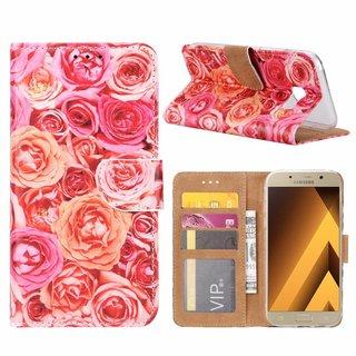 Rozen print lederen Bookcase hoesje voor de Samsung Galaxy A5 2017 - Roze