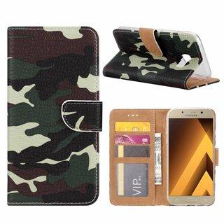 Leger Camouflage print lederen Bookcase hoesje voor de Samsung Galaxy A5 2017
