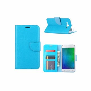 Luxe Lederen Bookcase hoesje voor de Samsung Galaxy J7 2016 - Blauw