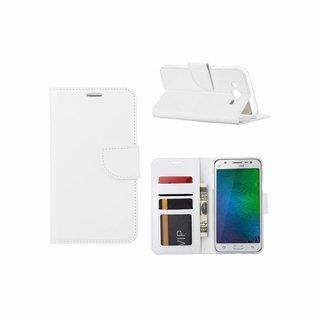 Luxe Lederen Bookcase hoesje voor de Samsung Galaxy J7 2016 - Wit