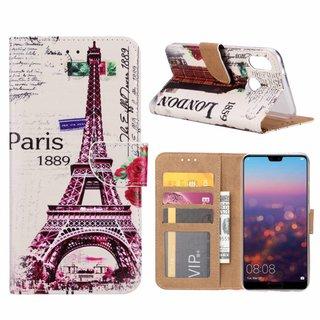 Parijs print lederen Bookcase hoesje voor de Huawei P20 Lite - Wit