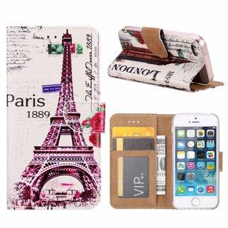 Parijs print lederen bookcase hoesje voor de Apple iPhone 5
