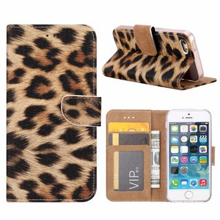 Panter print lederen Bookcase hoesje voor de Apple iPhone SE