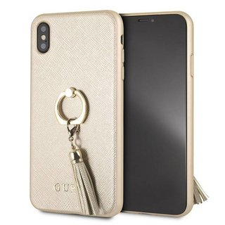Originele Saffiano Ring Back Cover Hoesje voor de Apple iPhone XS Max - Goud