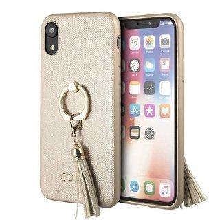 Originele Saffiano Ring Back Cover Hoesje voor de Apple iPhone XR - Goud