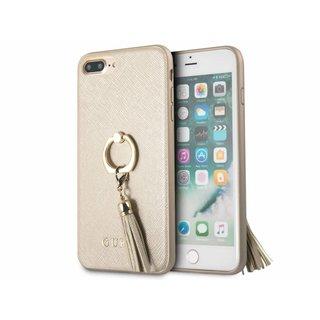 Originele Saffiano Ring Back Cover Hoesje voor de Apple iPhone 7 Plus / 8 Plus - Goud