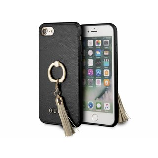 Originele Saffiano Ring Back Cover Hoesje voor de Apple iPhone 6 / 6S / 7 / 8 - Zwart