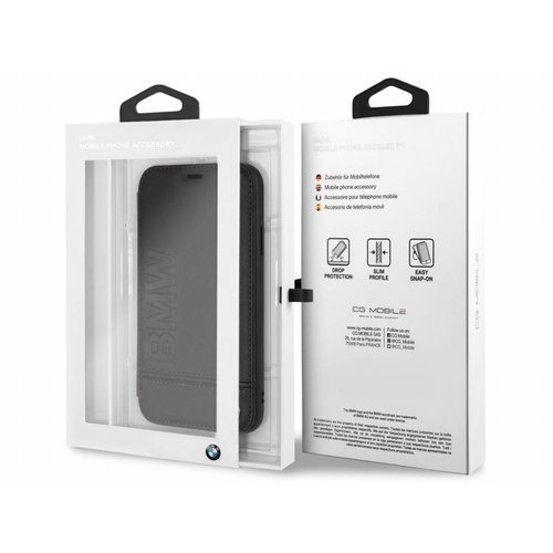 BMW Originele Signature Debossed Logo Folio Bookcase voor de Apple iPhone XR - Zwart
