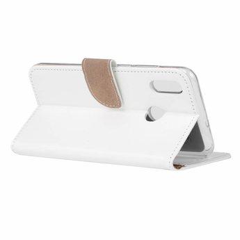 Luxe Lederen Bookcase hoesje voor de Huawei P Smart 2019 - Wit
