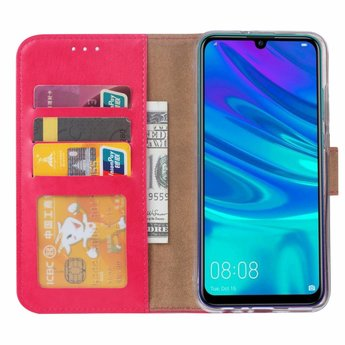 Luxe Lederen Bookcase hoesje voor de Huawei P Smart 2019 - Roze