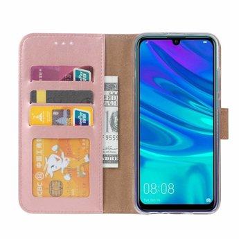 Luxe Lederen Bookcase hoesje voor de Huawei P Smart 2019 - Metallic Roze