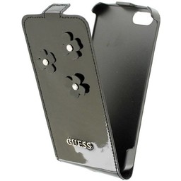 Guess Originele Daisy Flip Case hoesje voor de Apple iPhone 5 / 5S / SE - Zwart