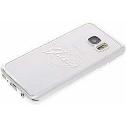 Guess Originele Heart Signature Transparant Hard TPU Back Cover Hoesje voor de Samsung Galaxy S7 - Zilver