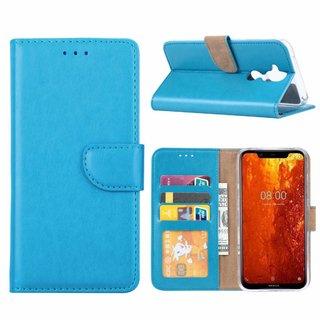 Luxe Lederen Bookcase hoesje voor de Nokia 8.1 - Blauw
