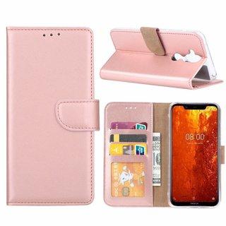 Luxe Lederen Bookcase hoesje voor de Nokia 8.1 - Metallic Roze