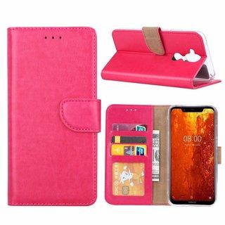 Luxe Lederen Bookcase hoesje voor de Nokia 8.1 - Roze