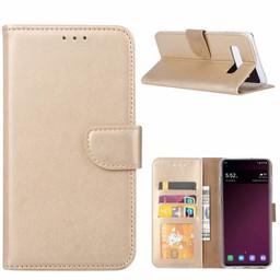 Luxe Lederen Bookcase hoesje voor de Samsung Galaxy S10 - Goud