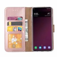 Luxe Lederen Bookcase hoesje voor de Samsung Galaxy S10 - Metallic Roze