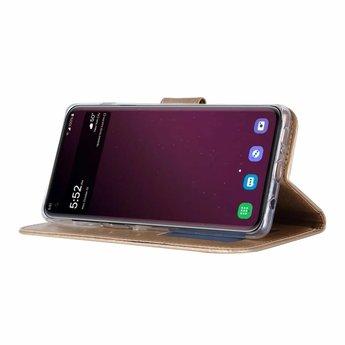 Luxe Lederen Bookcase hoesje voor de Samsung Galaxy S10 Plus - Goud