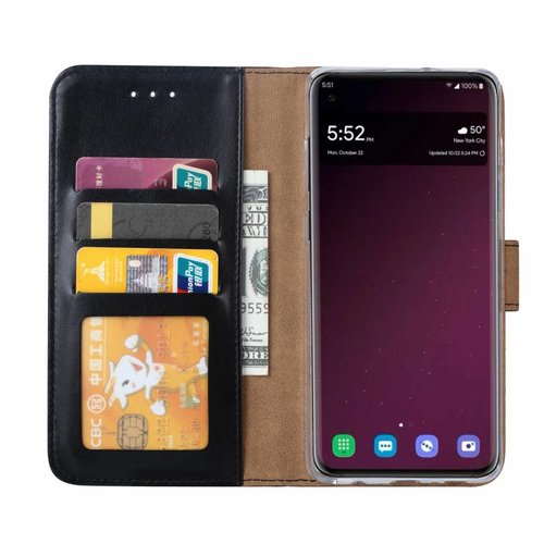 Luxe Lederen Bookcase hoesje voor de Samsung Galaxy S10 Plus - Zwart