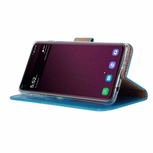 Luxe Lederen Bookcase hoesje voor de Samsung Galaxy S10 Plus - Blauw