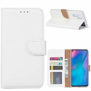 Luxe Lederen Bookcase hoesje voor de Huawei P30 Pro - Wit