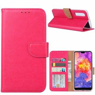 Luxe Lederen Bookcase hoesje voor de Huawei P30 - Roze