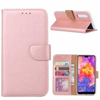 Luxe Lederen Bookcase hoesje voor de Huawei P30 - Metallic Roze