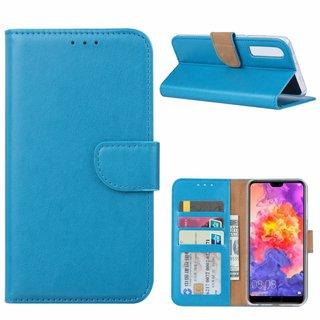 Luxe Lederen Bookcase hoesje voor de Huawei P30 - Blauw