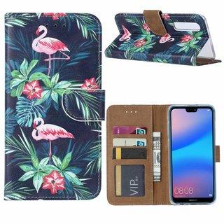 Flamingo print lederen Bookcase hoesje voor de Huawei P30 - Zwart