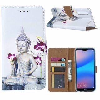 Buddha print lederen Bookcase hoesje voor de Huawei P30 - Wit