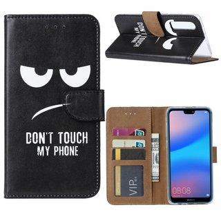 Don't Touch My Phone print lederen Bookcase hoesje voor de Huawei P30 - Zwart