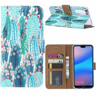 Cactus print lederen Bookcase hoesje voor de Huawei P30 - Blauw
