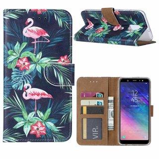 Flamingo print lederen Bookcase hoesje voor de Samsung Galaxy A6 2018 - Zwart