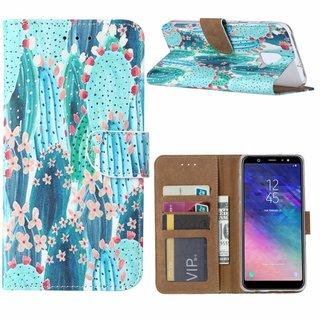 Cactus print lederen Bookcase hoesje voor de Samsung Galaxy A6 2018 - Blauw