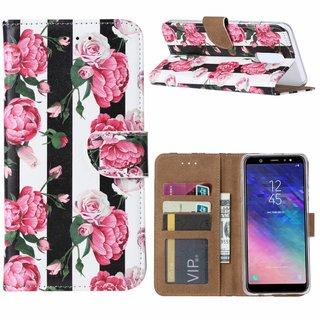 Gestreepte Rozen print lederen Bookcase hoesje voor de Samsung Galaxy A6 Plus 2018